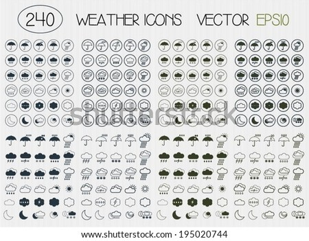 Set of flat weather icons for web. Simple icons - stock vector