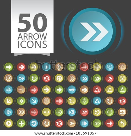 Set of 50 Flat White Arrow Icons on Contemporary Circular Buttons on Black Background.