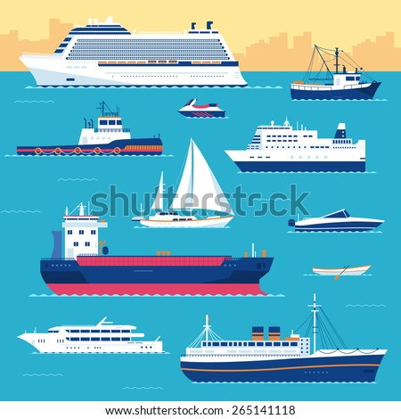 Set of flat yacht, scooter, boat, cargo ship, steamship, ferry, fishing boat, tug, bulk carrier, vessel, pleasure boat, cruise ship with blue sea background concept. Vector design illustration - stock vector
