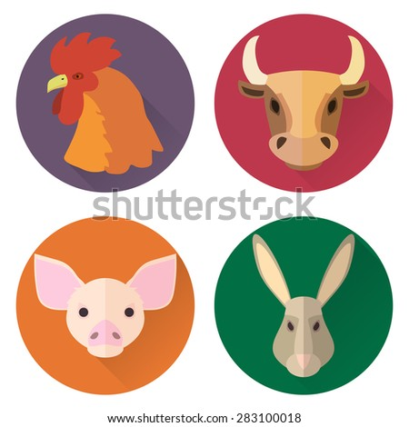 Set of flat zodiac domestic animals rooster, bull, pig, rabbit - stock vector
