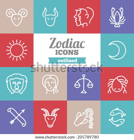 Set of flat zodiac icons  - stock vector