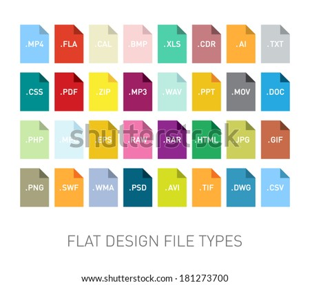 Set of flie type flat icons for smartphones, tablets, devices, user interface, applications. Clean and modern style design - stock vector