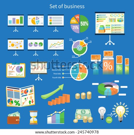 Set of flip chart with drawing business charts. Tripod stand with charts and parameters. Business concept of analytics in flat design style - stock vector