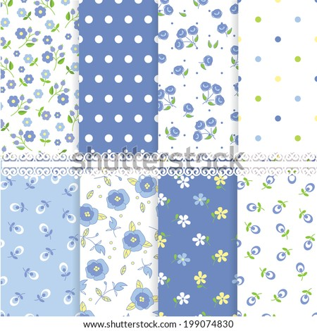 Set of floral abstract seamless patterns - stock vector