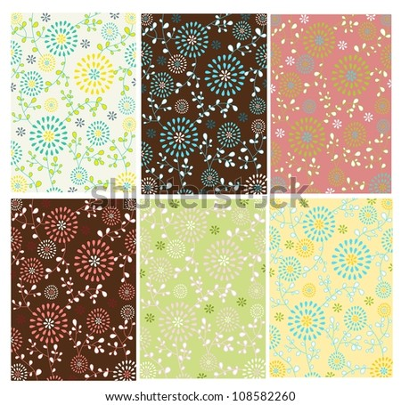 Set of floral background - stock vector