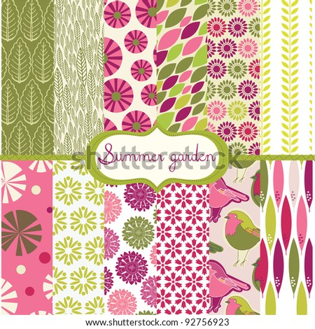 set of floral backgrounds - stock vector