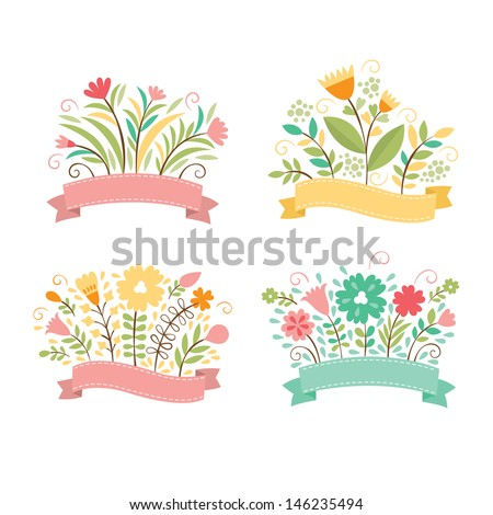 Set of floral bouquets , romantic composition, vector collection - stock vector