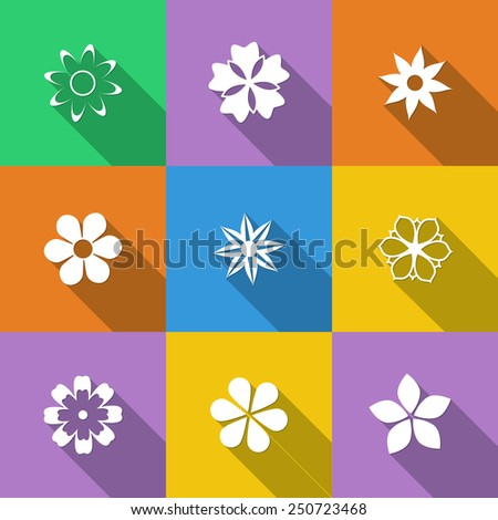 Set of floral buttons in a flat style with long shadows - stock vector