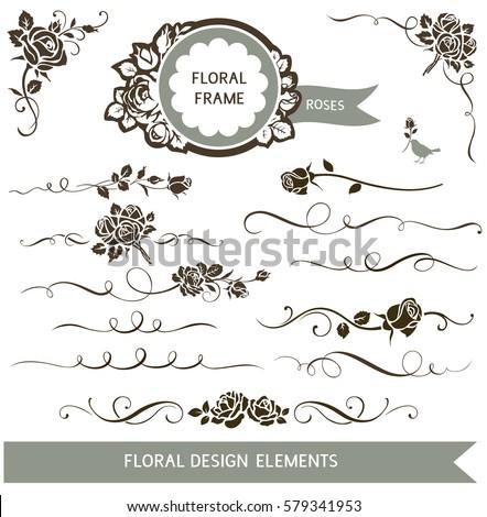 Set floral calligraphic design elements decorative stock vector set of floral calligraphic design elements decorative rose silhouette and wedding invitation calligraphy design elements junglespirit Images