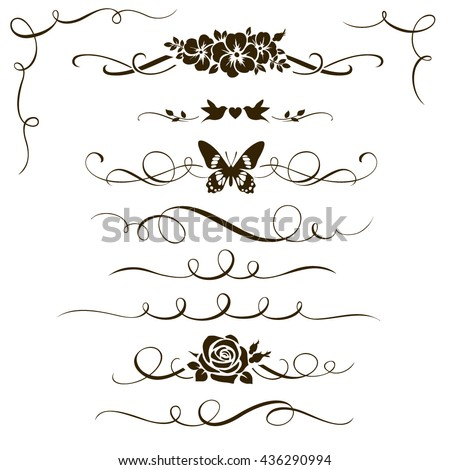 Set of floral calligraphic elements and ornament. Silhouettes of decorative flowers, birds and butterfly. Dividers and corners for your design and page decoration - stock vector