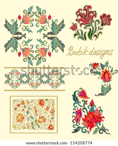 Set of floral compositions for decorative works, embroidery, batik - stock vector