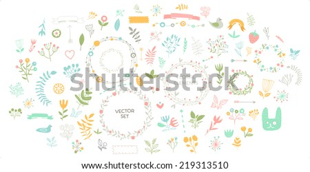 Set of Floral Decor. Vector Elements Collection with Leafs and Flowers for Greeting Cards, Flyers and Banners Design. - stock vector