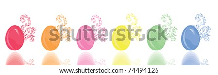 set of 6 floral decorated eggs, symbols of Easter - stock vector