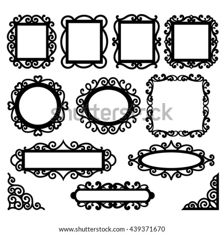 Set of floral decorative frames and corners. Page decor elements - stock vector