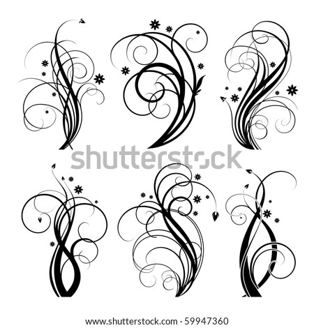 set of floral design element on white background - stock vector