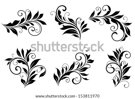 Set of floral design elements in retro style isolated on white background. Jpeg version also available in gallery - stock vector