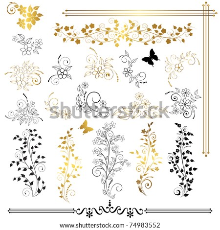 Set of floral design elements. Vector. - stock vector