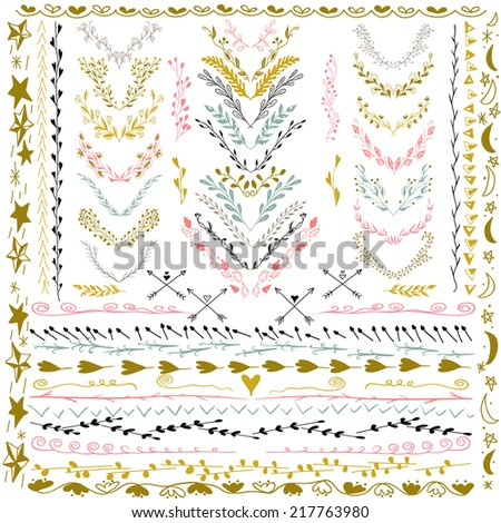 Set of Floral Design Elements. Wedding set with arrows, hearts, laurel, wreaths and labels. Decorative elements. Hand Drawn graphic elements. Pastel backdrop. Illustration vector. - stock vector