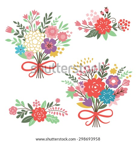 set of floral elements , a beauty bouquets  - stock vector