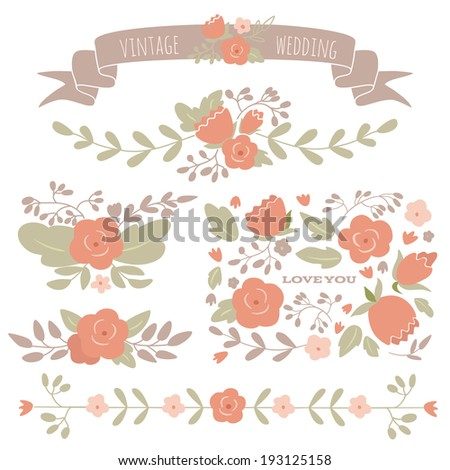 Set of floral elements for a wedding, birthday or Valentine's day. EPS 10. No transparency. No gradients. - stock vector