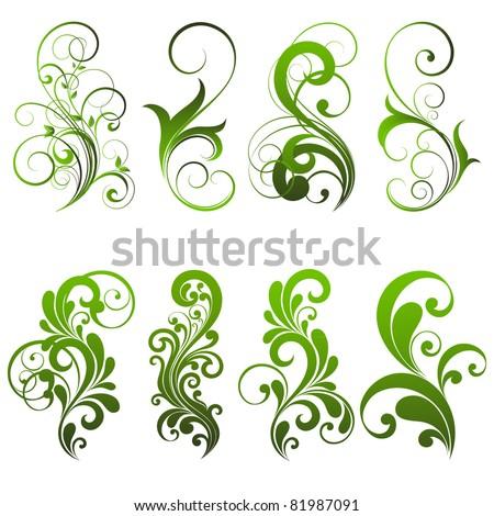 Set of floral elements for design. - stock vector