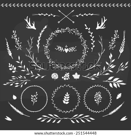 set of floral elements: leaves, flowers, branches and wreathes - stock vector