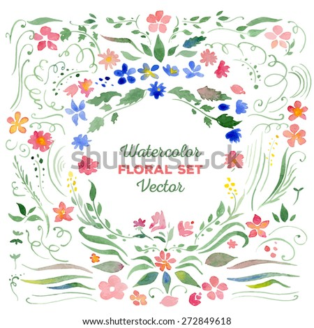 Set of floral elements - vector watercolor illustration. Elements can be combined to create bouquets, frames, wreaths. Great for wedding invitations, Mothers day cards, logotypes, page decoration. - stock vector