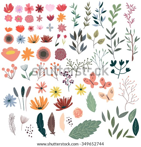 Set of floral elements. Wreath illustration made of flowers and herbs. Vector decorative frame and leaf. Spring elements. Floral doodles wreath. - stock vector