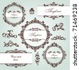 set of floral frame and vintage design elements - stock photo