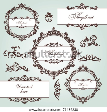 set of floral frame and vintage design elements - stock vector