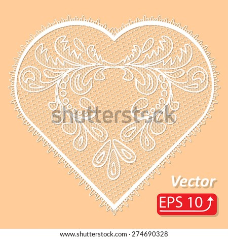 Set of floral frame lacy hearts shapes with hand drawn floral ornaments. Love concept for Valentines Day or Wedding design, white lace heart , isolated on beige background vector illustration - stock vector