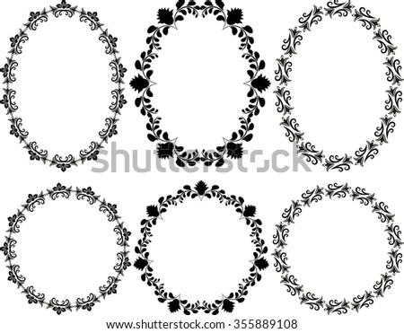 set of floral frames - design elements - stock vector