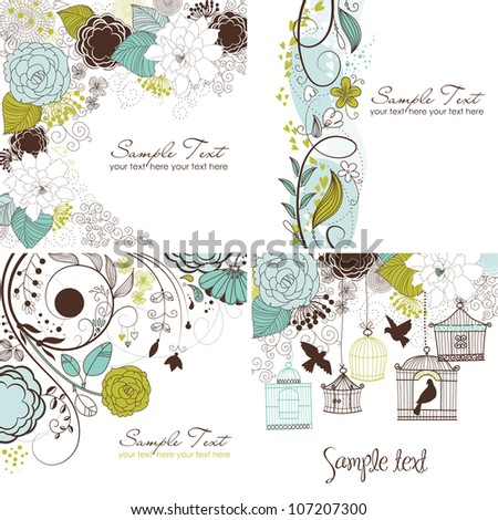 Set of floral greeting cards in retro style - stock vector