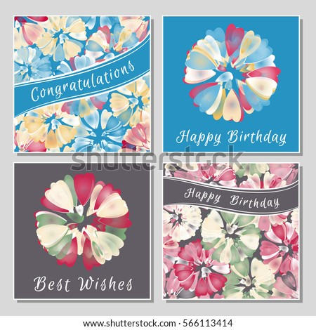 Set of floral greeting cards with exotic colorful flowers. Universal congratulation with Valentine's Day, Mother's Day, International Women's Day, birthday, anniversary, wedding.