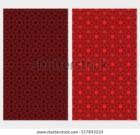 set of Floral lace ornaments. seamless patterns. vector illustration. texture for design, wallpaper, invitation. black, red color