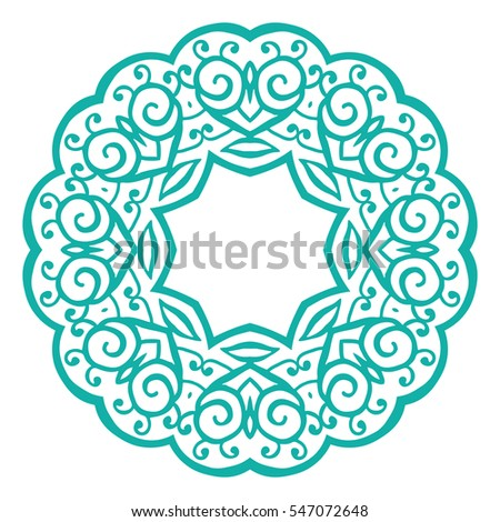 Set of floral ornamental ethnic decorative elements