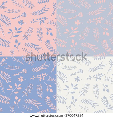 Set of 4 floral ornate doodle seamless patterns in gentle pastel shades. Vector illustration. For backgrounds, wallpapers, wrapping paper, textile, prints. Added to swatches. - stock vector