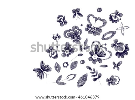 Set floral pattern fantasy flowers isolated stock vector 461046379 set of floral pattern with fantasy flowers isolated line art black and white vector altavistaventures Images