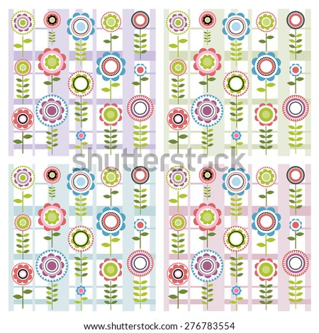 Set of floral patterns - stock vector