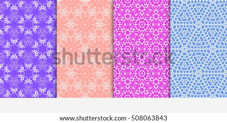 set of 4 floral seamless pattern. abstract geometry shape and lines. vector illustration. Ethnic ornament. For design, wallpaper, background fills, fill, card, banner, flyer. Multi color