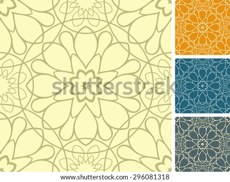 Set of 4 floral seamless patterns. - stock vector