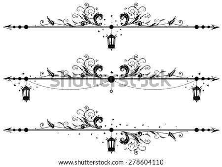 set of floral vector borders with old street lamp and butterflies - stock vector