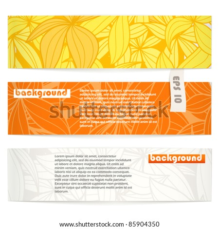 Set of floral vector information banners. Ready for a text - stock vector