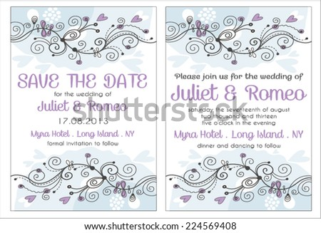 Set of floral wedding invitation template, purple and blue blossom, invitation and save the date card - stock vector
