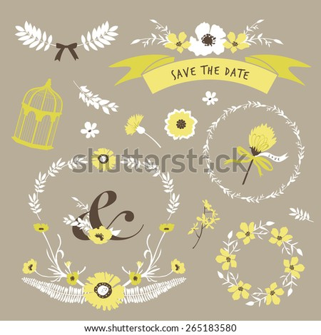 Set of flourish elements for wedding invitation, save the date, RSVP, mother's day and Valentine's day greeting card design. - stock vector