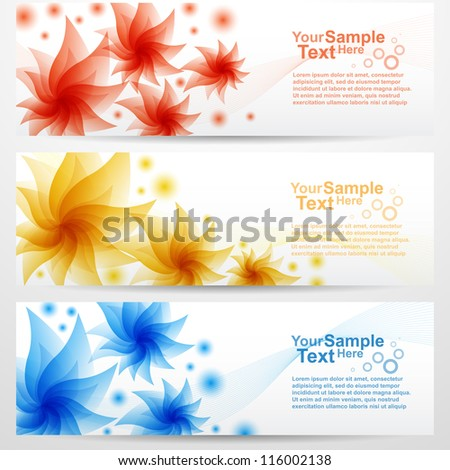 Set of flower banner background, vector - stock vector