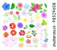 Set of Flower Elements. Floral Vector Illustration - stock photo