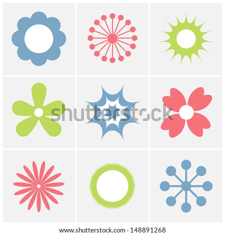 set of flower icon  - stock vector