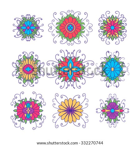 Set of flower icons isolated on white. Cute design in bright colors for stickers, labels, tags, gift wrapping paper. - stock vector