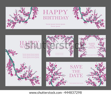 Set of flower invitation cards with cherry sakura on basis of traditional Chinese or Japanese calligraphy.Wedding background,illustration, poster, banner, layout background. - stock vector